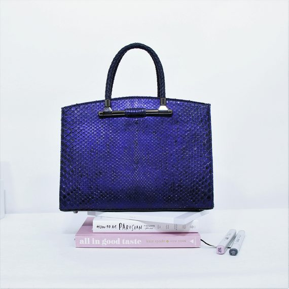 Jira – Large Yoko Handbag in Midnight Illumination Blue Python