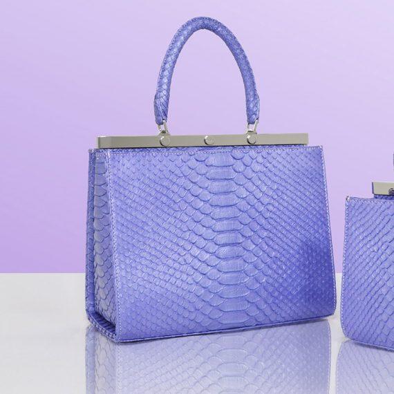 Jira – Large Amy Handbag in Nacre Blue Python