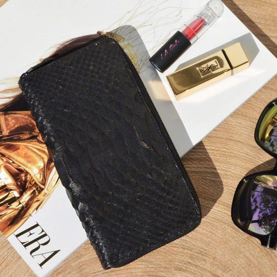 Jira – Long Zipper Wallet – Black Python