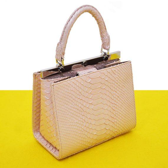 Jira – Small Amy Handbag in Nacre Pink Python