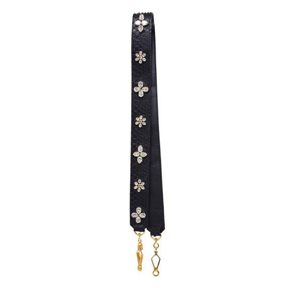 Jira – Strap in Black Python and Swarovski Flowers